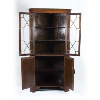 Antique Edwardian Inlaid 2 Door Corner Cabinet c.1900