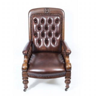 Antique Pair English Victorian Leather Armchairs c.1880
