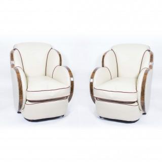 Antique Pair White Leather Art Deco Cloud Armchairs c.1930