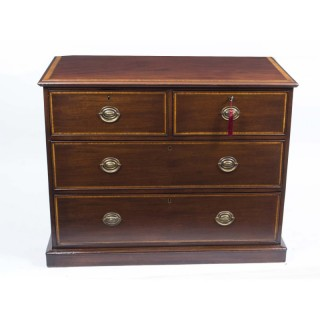 Antique Victorian Inlaid Mahogany Chest c.1880