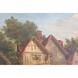 Antique Victorian Oil on Canvas 'Back Home' c.1880