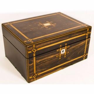 Antique Coromandel & Satinwood Banded Box c.1840