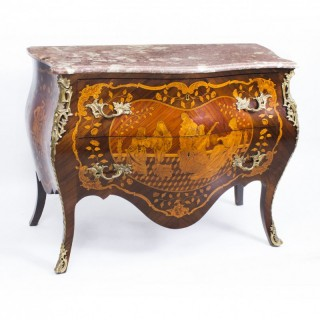 Antique French Louis XV Revival Marquetry Commode Chest c.1880