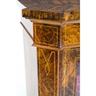 Antique Large Victorian Burr Walnut Pier Cabinet c.1860