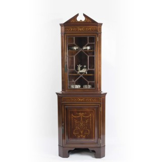 Antique English Edwardian Marquetry Corner Cabinet c.1900