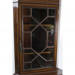 Antique English Edwardian Marquetry Corner Cabinet c.1900