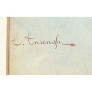 Antique Pair Watercolours 'Cardinals' E Tarenghi c.1910