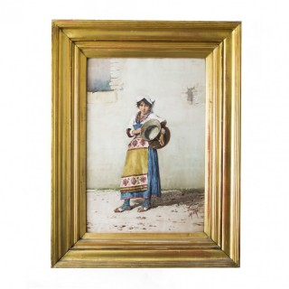 Antique Watercolour 'Water Carrier' F Indoni c.1890