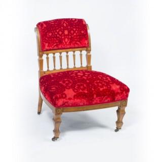 Antique Victorian Satinwood Nursing Chair c.1880