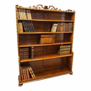 Victorian Oak Waterfall Bookcase in the manner of Richard Bridgens