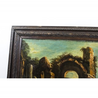 Antique Oil Painting Landscape Ruins c.1910