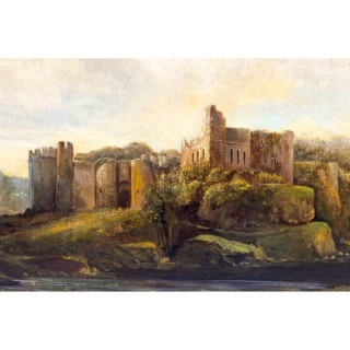 Antique Painting 'Ruins of Chepstow' Castle c.1880