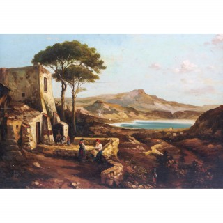 Antique Painting Neapolitan Landscape Postiglione c.1880