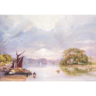 Antique Watercolour Thames at Twickenham J C Bourne c.1850