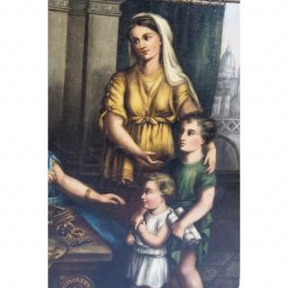 Antique Oil Painting 'Cornelia and Her Jewels' c.1860