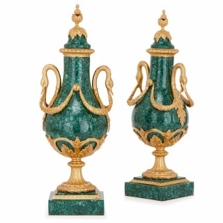 Pair of gilt bronze mounted malachite antique French vases
