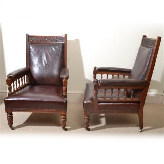 Antique Pair of English Leather Armchairs c.1880