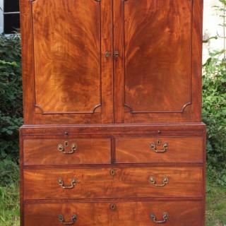 18th Century George III Period Cuban Mahogany Antique Linen Press Wardrobe