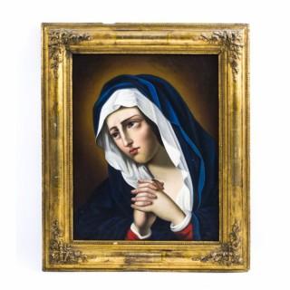 Antique Oil Painting 'Madonna at Prayer' c.1860