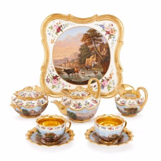 Fine eight piece antique French Parisian porcelain Neoclassical style tea set