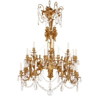 Antique cut glass and ormolu twenty eight light Louis XVI style chandelier