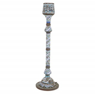 Large antique Syrian floor candlestick with Islamic style enamel decoration