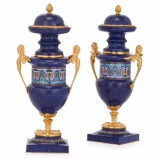 Pair of ormolu, lapis lazuli and champlevé enamel Louis XVI style French vases