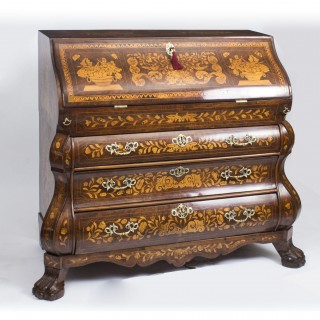 Antique Dutch Burr Walnut Floral Marquetry Bureau c.1780