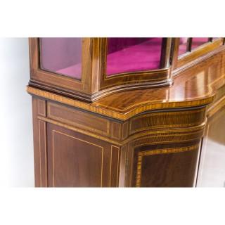 Antique Edwardian Serpentine Inlaid Display Cabinet C1900