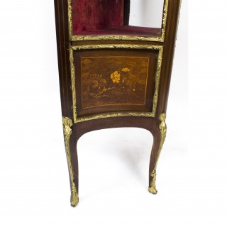 Antique French Louis Revival Parquetry Display Cabinet 1870