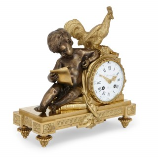 Antique mantel clock by Beurdeley in silvered and gilt bronze