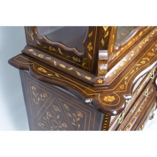 Antique Dutch Marquetry Walnut Cabinet on Chest c.1780