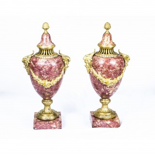 Antique Pair French Rouge Marble Urns Louis XV c.1860