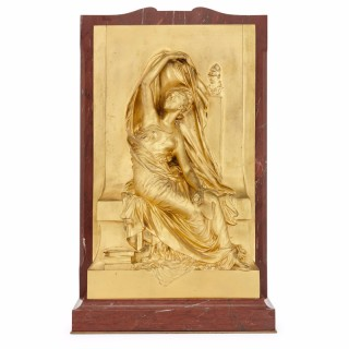 French antique relief panel in gilt bronze by Henri Chapu, 'La Pensée'
