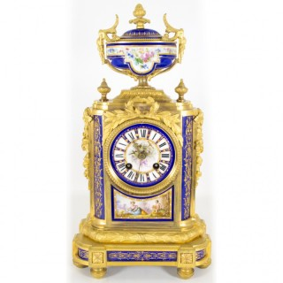 Antique French Ormolu Porcelain Mantel Clock c.1860