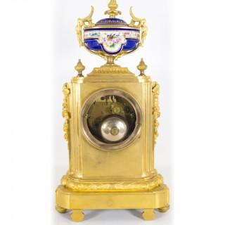 Antique French Ormolu Porcelain Mantel Clock c.1860