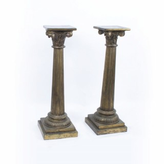 Antique Pair Corinthian Column Pedestals c.1900