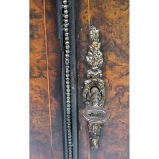 Antique Victorian Burr Walnut Marquetry Credenza c.1860