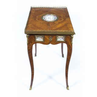 Antique French Writing Side Table Porcelain Plaques c.1780