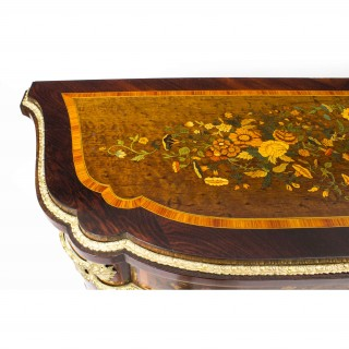 Antique French Amboyna & Floral Marquetry Side Cabinet c.1850