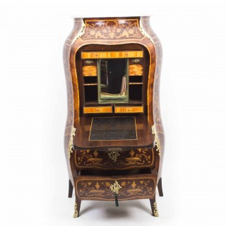 Antique French Rococo Revival Marquetry Secretaire a Abattant C 1850