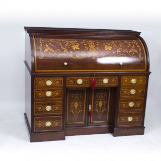 Antique Victorian Cylinder Bureau by Edwards & Roberts