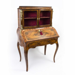 Antique French Bonheur du Jour in Kingwood with Marquetry c.1850