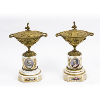 Antique Pair of French Ormolu & Porcelain Urns c.1860