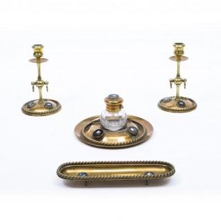 Antique Brass & Pietra Dura Mounted Desk Set c1870