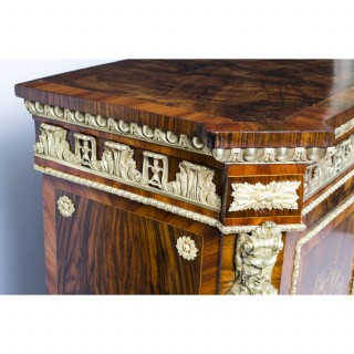 Antique Victorian Burr Walnut Marquetry Credenza c.1860
