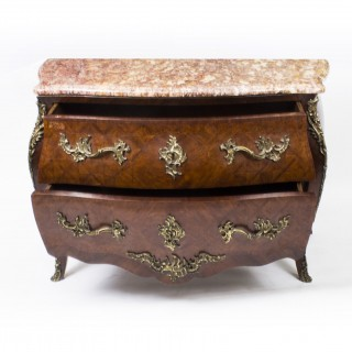 Antique French Louis Revival Parquetry Commode Chest Marble c.1900
