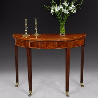 George III inlaid Mahogany Demi-lune Tea Table