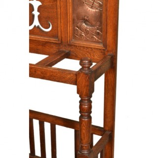 Antique Arts & Crafts Oak Umbrella Stand c.1890