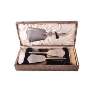 Antique Art Deco Sterling Silver Brush Mirror Set 1934